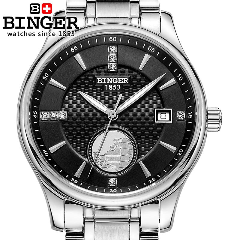 Switzerland watches men luxury brand Wristwatches BINGER Automatic self-wind Diver luminous full stainless steel watch BG-0409-B switzerland men s watch luxury brand wristwatches binger luminous automatic self wind full stainless steel waterproof b106 2