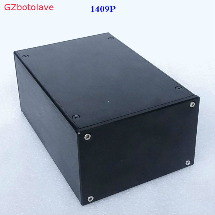 Free ship BZ1409P Black Full Aluminum Chassis Mini Amplifier Enclosure Isolate power box DIY PSU Case 4308 rounded chassis full aluminum enclosure power amplifier box preamplifier chassis