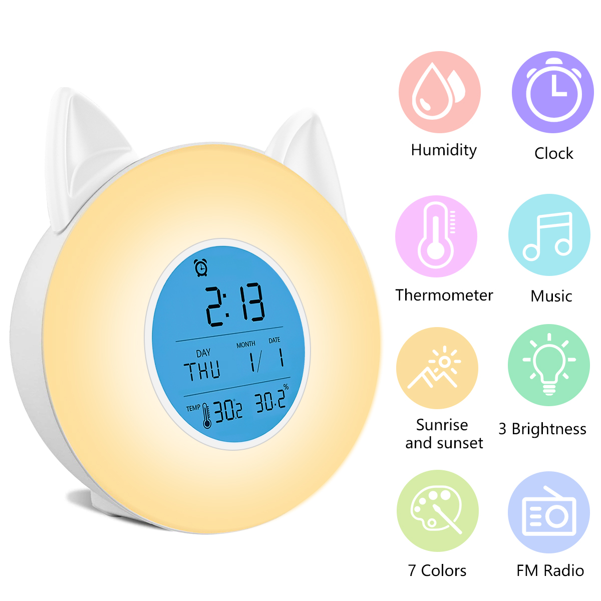 Multi-function Wake Up Light Night Light Project LCD Music FM Radio 3 Brightnress 7 Colors Alarm Clock Thermometer Hygrometer