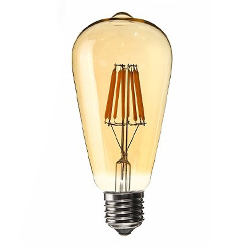 WISH-Dimmable E27 8W Edison Retro Vintage Filament ST64 COB LED Bulb Light Lamp Body Color:Transparent Cover Light Color:Gold