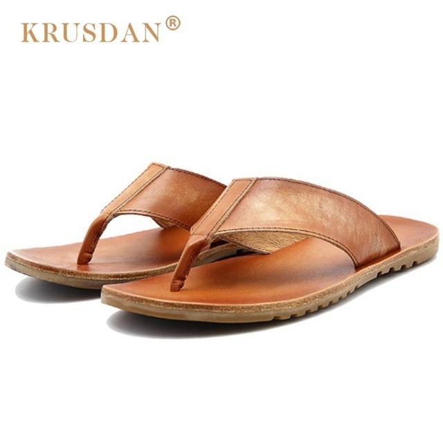 80d315d5267e 2017 men flat flip flops hot sale men s leather sandal summer leather slip  on outdoor casual beach shoes sandals original design