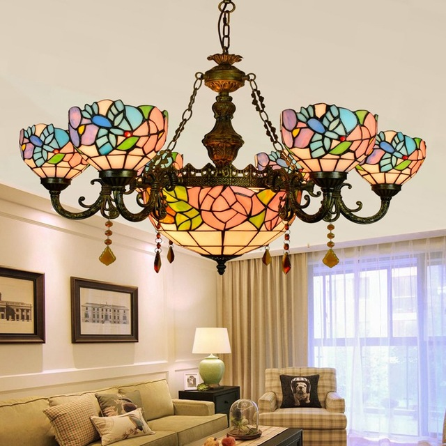 European Garden Rose 6 8 Heads Living Room Dining RoomCrystal Chandelier Tiffany Stained Glass RestaurantPendant Lamps