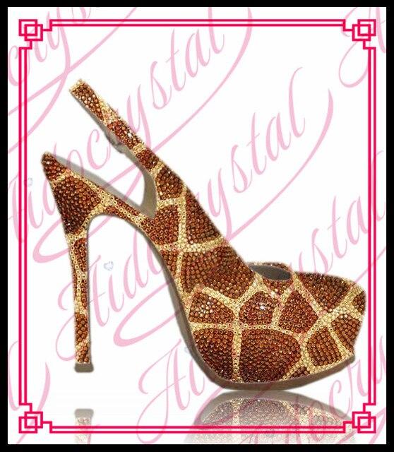Aidocrystal nieuwe collectie 14 cm hoge hak mode jurk schoenen nice party schoenen met bling bling kristal bovenste maat 5