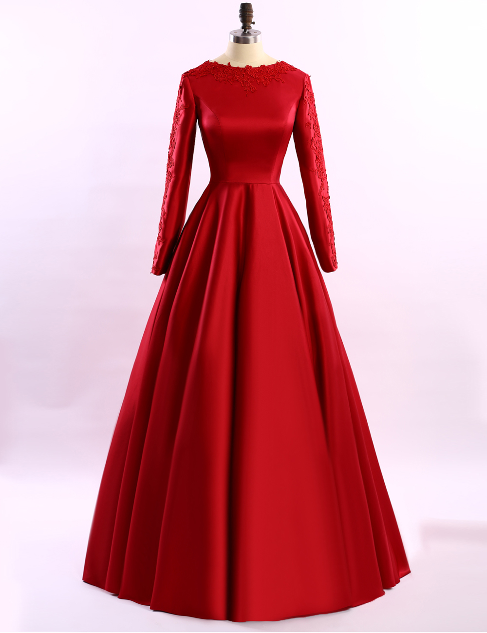 Simple Long Sleeve Red Evening Dresses 2016 Long Evening ...