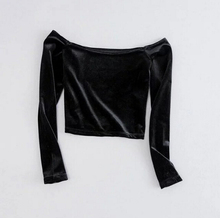 Off Shoulder Velet T-shirt New Woman Slim Fit