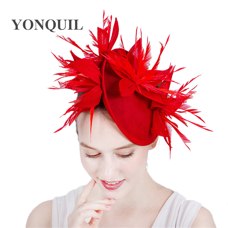 New Red Imitation Sinamay Fascinators Elegant Ladies Feather Floral Hat Hairclips British Wedding Party Derby Hair Accessories