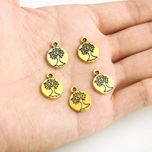TJP 20pcs Antique Gold Tone Round Tree Charms Pendants Beads for Necklace Bracelets DIY Jewelry Making Findings 12x15mm