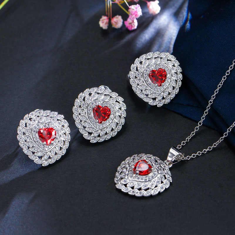 BeaQueen น่ารักรูปหัวใจสีม่วงคริสตัล Cubic Zirconia ผู้หญิงรักเครื่องประดับ 925 แหวนเงินชุดสร้อยคอต่างหู JS114