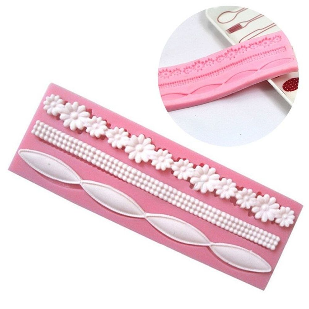 3D Lace Flower Bead Chain Silicone <font><b>Fondant</b></font> Mould <font><b>Cake</b></font> <font><b>Decorating</b></font> Baking Molds Sugar Paste Pastry <font><b>Tools</b></font> image