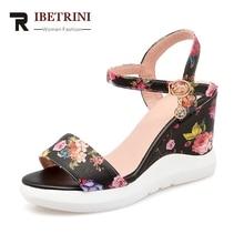 RIBETRINI 2018 Mode Blumendruck Knöchelriemen High Heels Sommer Sandalen Frauen Große Größe 33-42 Plattform Keile Frauen Schuhe