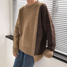 2018 New Autumn And Winter Thick Half-high Collar Warm Pullover Asymmetric Color Matching Sweater Men Smart Casual Preppy Style