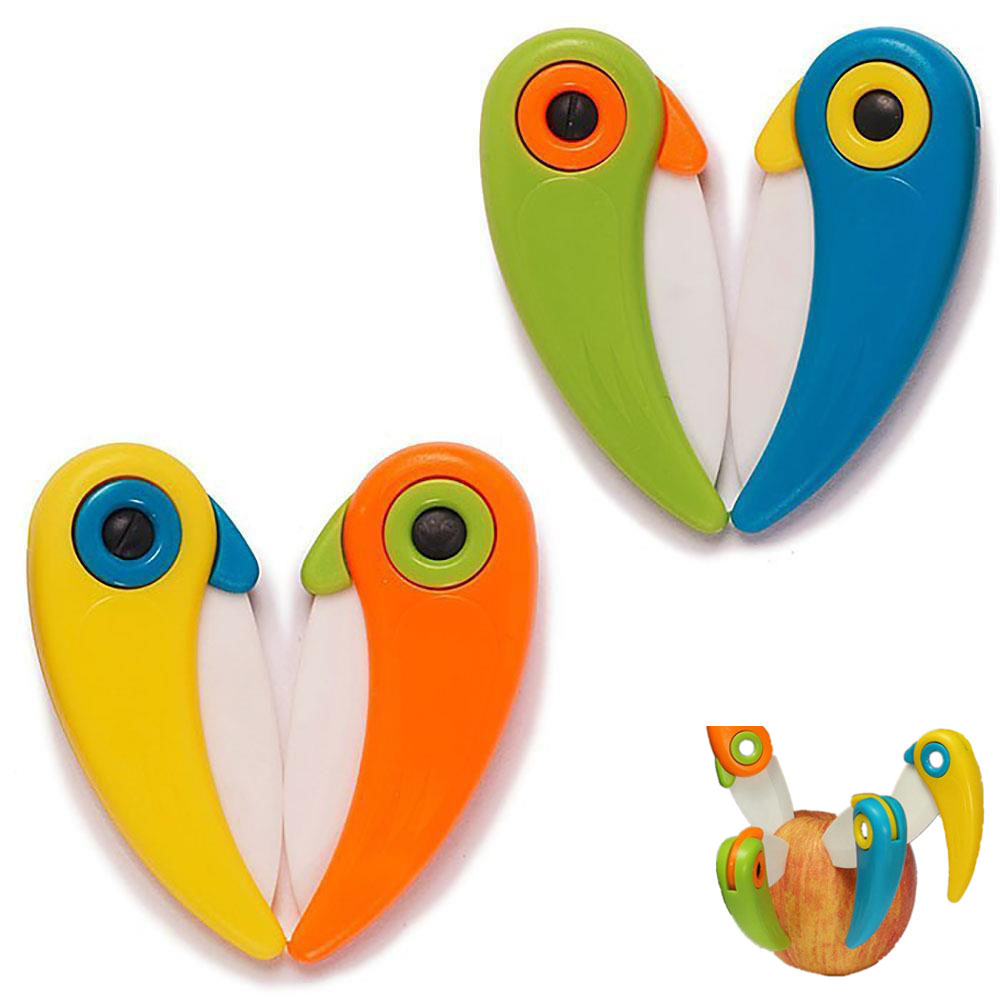 Picnic Lunch Peeler Mini Bird Cut Slice Fruit Cutlery Pocket Pare Peel Fold Knife Cutter Bag Box Vegetable Kitchen Blade Ceramic