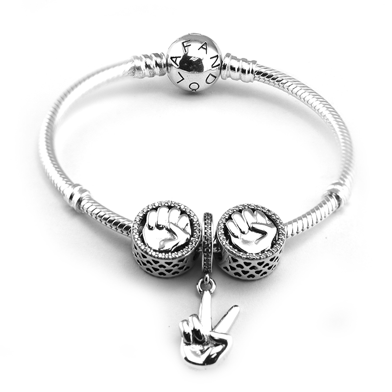 Around Clasp Bracelets with 3pcs Beads in a set ,Win Dangle Charm Two Fist Charm 100% 925 Sterling-Silver-Jewelry behringer eurolive b207mp3