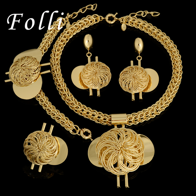 2017 Fashion New Big  African Wedding Bridal Costume jewelry sets Dubai Indian Gold Plated Long Big Pendant Necklace sets Women