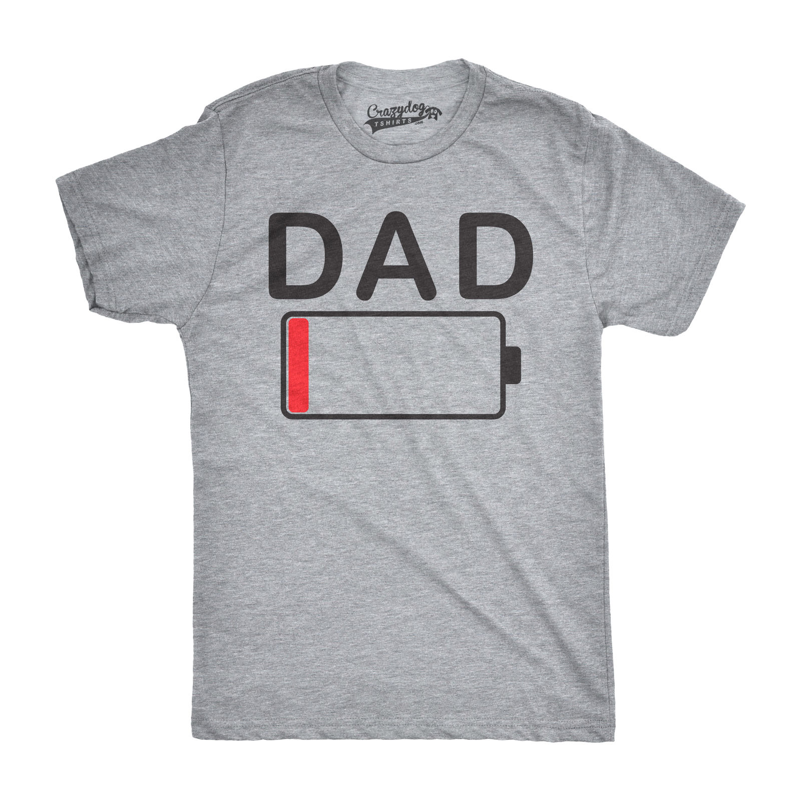 Mens Dad Battery Low Funny Empty Tired Father Parenting Fathers Day T Shirt