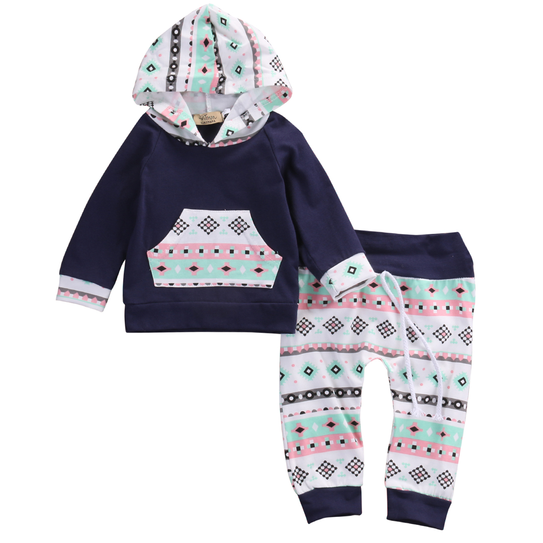 2016 Fashion Baby Clothes Set Newborn Infant Bebes Boy Girl Navy Blue Hooded Sweatshirt Top Pant 2pcs Bebek Giyim Kids Clothing 2016 new casual baby girl clothes 2pcs autumn clothing set floral hooded top pant outfits newborn bebek giyim 0 24m