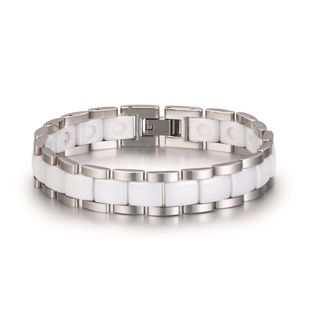 Fashion Ceramic Hologram Power Bracelet For Women White/Pink Smooth Ceramic Bracelet Stainless Steel Band Wrap Bracelets Bangles