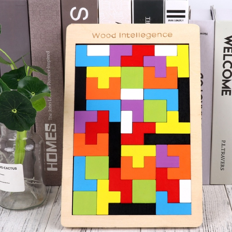 Montessori Kids Wooden Tetris Puzzles Toys Colorful Jigsaw Board Toys Children Intellectual Educational Toys For Children Gift