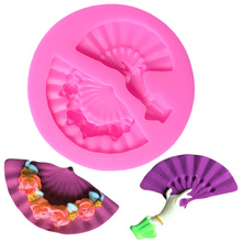 Mini Classical Fan chocolate Baking Tools For Cakes Lace Silicone Mold Cake Muffin Cupcake Fimo 3D