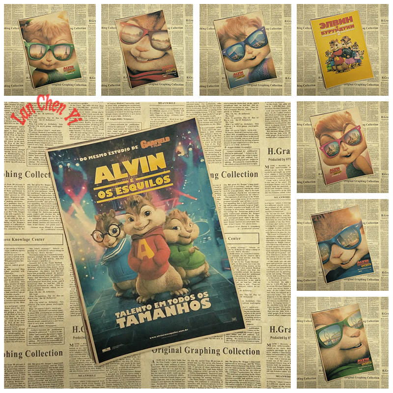 Alvin And The Chipmunks Classic Cartoon Movie Kraft Paper Poster Cafe Bar Decorative Painting Kraft Paper Poster Paper Posteralvin And Chipmunk Aliexpress