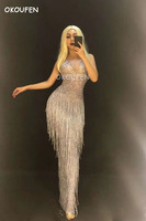 Nightclub female singer DJ Ds sexy hip fashion women's full diamond tassel dress long skirt stage clothing mesh dress