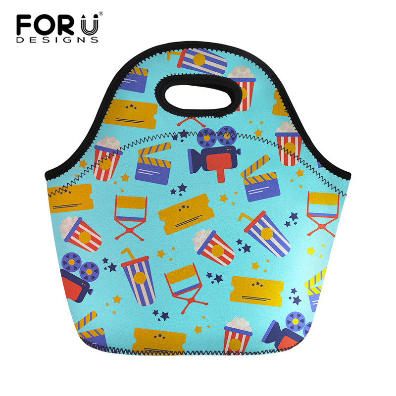 FORUDESIGNS Insulated Girls Lunch Bags With Zipper Holder Handbag For Women Kid Lunch Handbag Custom Portable Meal Bag28*13*25cm
