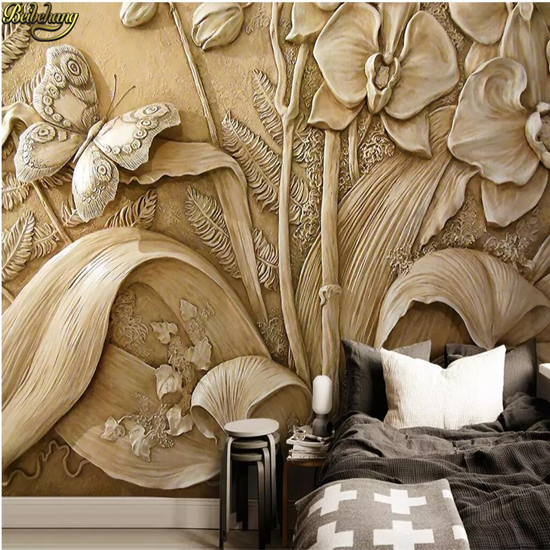 Beibehang Custom Embossed Orchid Butterfly Mural Wall Paper Wallpaper For Living Room Decoration Floor Painting TV Background