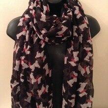 Женский черный шарф-шаль с принтом йоркширского терьера