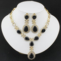 Black Crystal Necklace Earrings African women fashion high quality wedding jewelry set a Valentine's Day Party Gift  gold plated