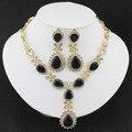 Collar de Cristal negro Pendientes mujeres de la moda de alta calidad de la joyería de la boda Africana establecer un Día de San Valentín Regalo de la Fiesta de chapado en oro