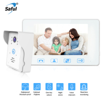 Saful 7 Color TFT LCD White Wired Video Door Phone Door Intercom Waterproof Video Phone With