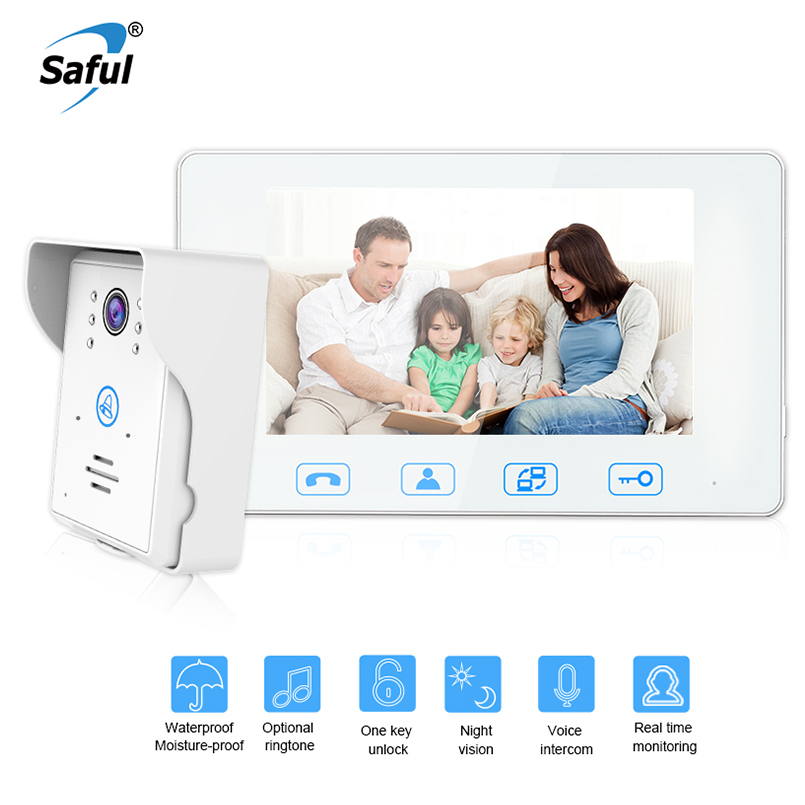 Saful 7''color TFT LCD white wired video door Phone door intercom Waterproof video phone with Electric lock-control function