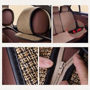 Image 5 - 2 pcs רכב מושב כיסוי כחול גלימת פשתן/2 קדמי או 1 מושב אחורי כרית כרית Fit ביותר רכב, משאית, Suv, להגן על רכב פנים