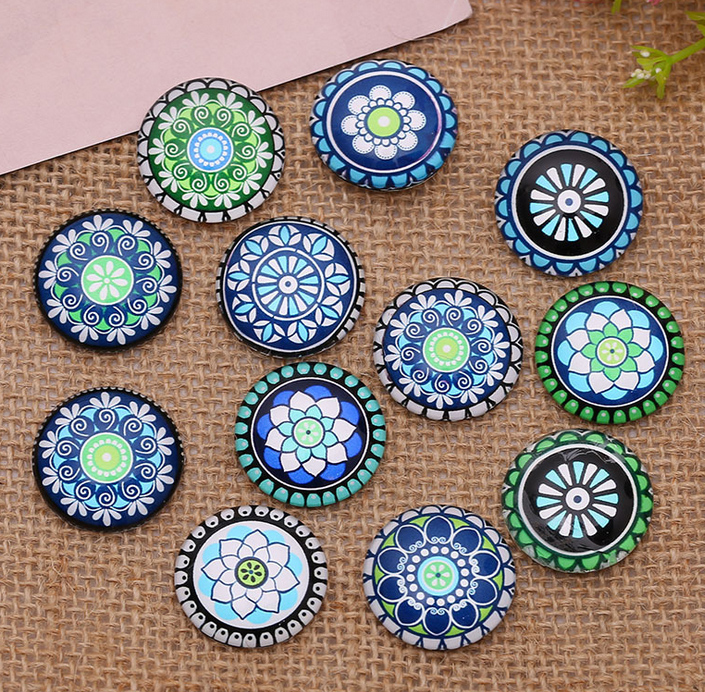 24pcs 12mm/14mm/16mm Colorful Flowers Round  Handmade Photo Glass Cabochons & Glass Dome Cover DIY Handmade Cabochon Beads