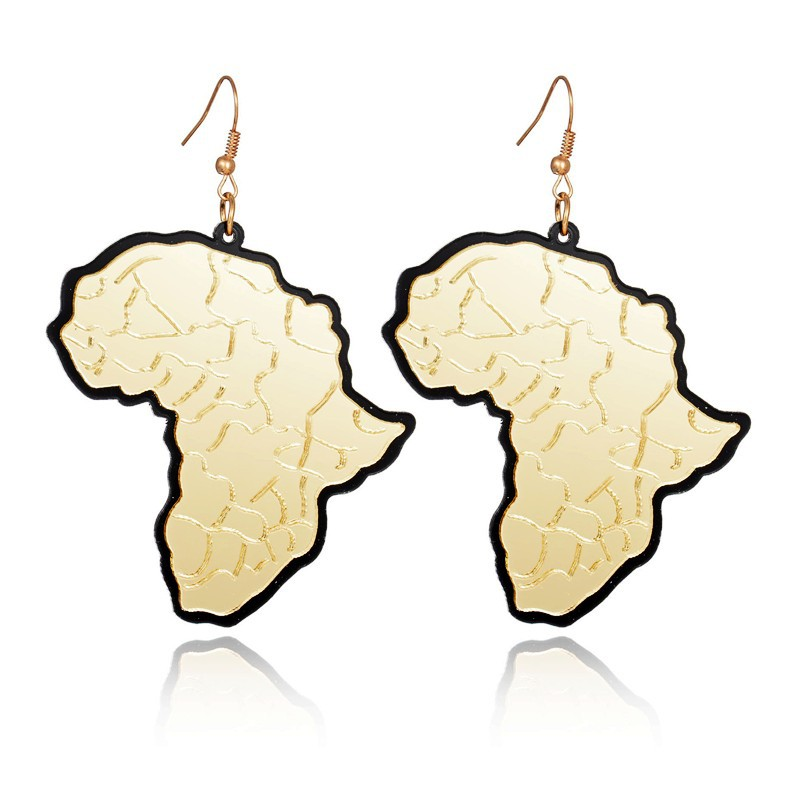 Trendy Jewelry Hip Hop Club Gold Acrylic Africa Map Earrings For