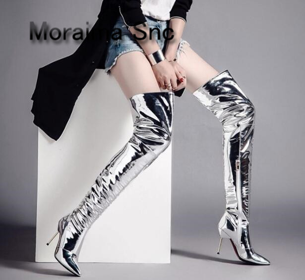 Moraima Snc long boot sliver Patent leather over the knee boots pointed toe sexy high heels thigh high boots pleated shoes women high heels over the knee long boots women sexy boots heels snow long boot winter shoes zip thigh high boots platform shoes