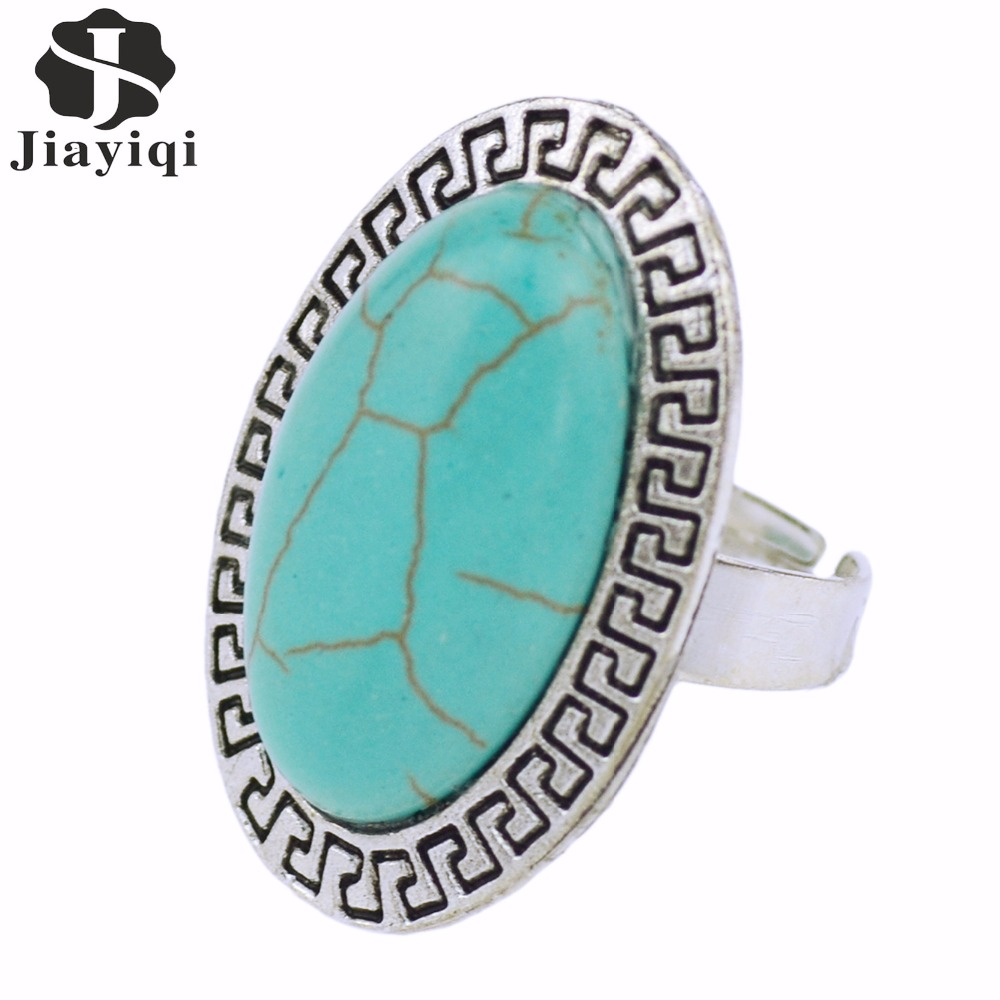 Statement Jewelry Ring Green Stone  Antique Alloy Color Elegant Drop Style Big Rings For Women High Quality Gift