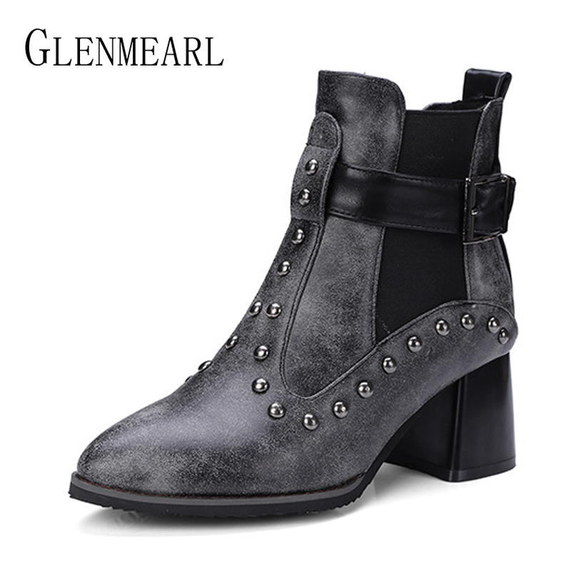 Winter Boots Woman Fashion Rivets Women Ankle Boots Chelsea Female Casual Shoes Thick Heels Pointed Toe Black Short Boots New DE fashion fringe women short chelsea boots black genuine leather thick high heels shoes woman pointed toe metal buckle booties