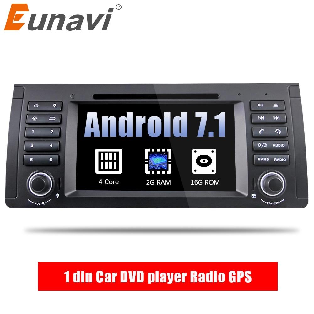 Eunavi Quad Core 1 din Android 7.1 Car DVD player GPS Radio di Navigazione per Auto Stereo Per BMW E53 E39 X5 supporto TV 4g WiFi OBD DVR