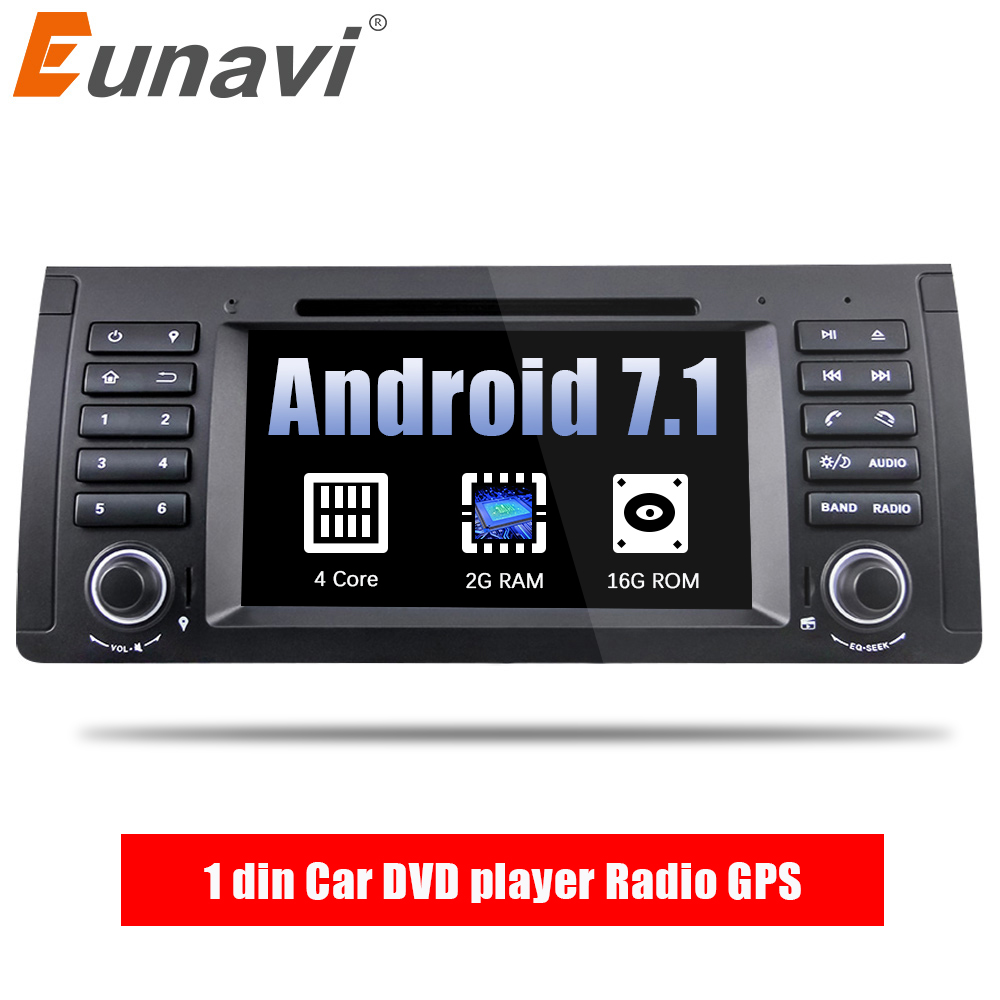Eunavi Quad Core 1 din Android 7.1 Car DVD player Radio GPS Navigation Car Stereo For BMW E53 E39 X5 Support TV 4G WiFi OBD DVR цена