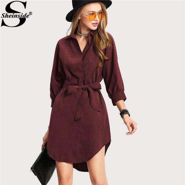 f041281a6a5b Sheinside Casual Asymmetrical Short Dress Women Burgundy Turn-down Collar  3 4 Sleeve Belted