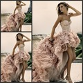 High Low Beaded Luxury Wedding Dress 2016 Feathers Beach Wedding Dress Short Front Long Back Crystal  Vestido De Noiva SL-W317