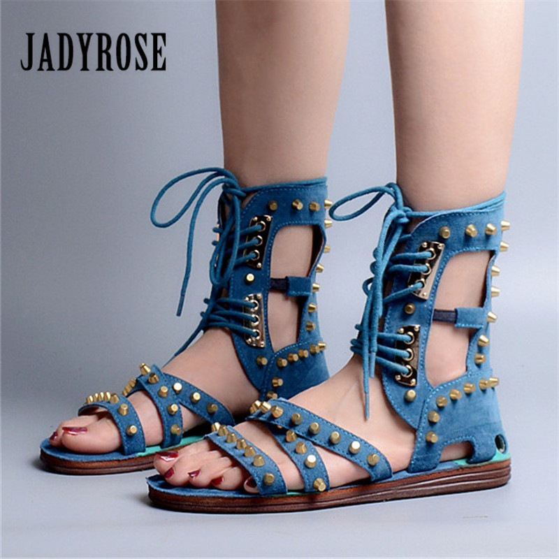 Jady Rose 2018 New Rivets Studded Summer Women Sandals Suede Lace Up Hollow Out Gladiator Sandals Female Casual Beach Shoes