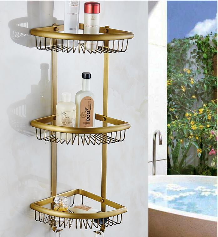 Wall Mounted Copper Bathroom Soap Dish Antique Triple Tier Bath Shower Shelf Bath Shampoo Holder Basket Holder Corner shelf bronze total solid brass wall mounted bathroom double lever corner shelf bathroom shampoo shelf bath shower shelf soap holder