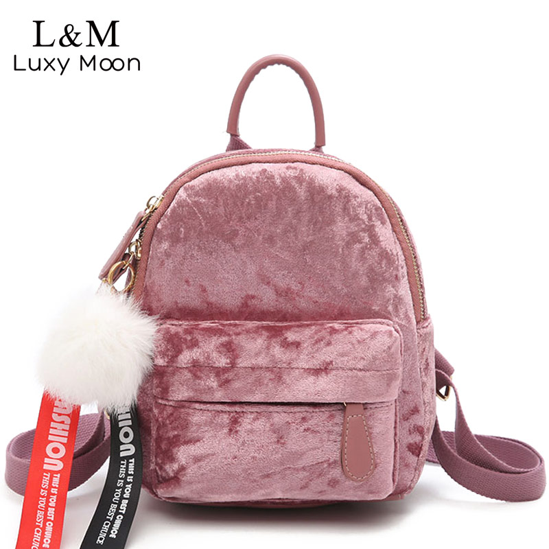 Luxy moon Mini Backpack Women Velour Backpacks PU Leather Female Bag For Teenage Girls School Bags Cute Pink Velvet Bag XA1162H melodycollection candy color pu leather mini backpack for women girls purse fashion schoolbag mini casual daypack dome backpacks