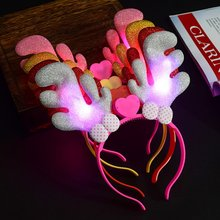 Luminous Antlers Ears Hairpin LED Christmas Light-Up Headband Headdress Christmas Party antler xmas headbands new year 2018(China)