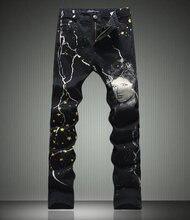 Горячие продажи мужчины belle печати джинсы мода тощий карандаш брюки