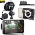 """4 """"polegadas H30 HD 1080 P Car-Detector de Câmera de Lente Dupla Do Carro Traço Invertendo Cam Auto DVR CCTV Câmera Gravador de Vídeo Traço Cam G-sensor"""