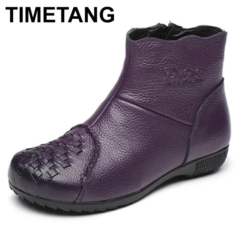 TIMETANG Autumn Women Fats Boots Handmade Genuine Leather Boots Woman Vintage Solid Zip Flat With Ankle Boots Women Shoes C324 2018 genuine leather women boots flat heel vintage handmade women shoes ankle boots
