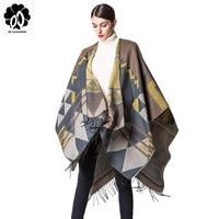 Bohemian Women's Autumn Winter Poncho Ethnic Scarf Fashion Print Blanket carves Lady Knit Shawl Tassel Cape Thicken Pashmina